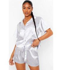 korte pyjama set met steentjes, silver