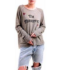 wildfox women's i'm terrific sweatshirt heather vanilla grey s