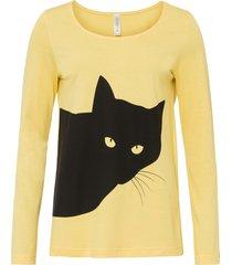maglia a maniche lunghe con gatto (giallo) - rainbow