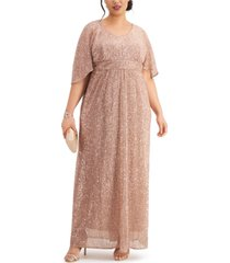 nightway plus size sequin flowy gown