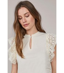 summum 3s4541-30246 top ruffle sleeve broderie anglaise h jersey