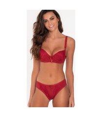 conjunto de lingerie alça larga click chique básico detalhe renda vermelho