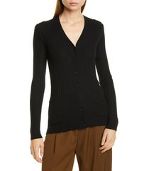 women's vince ribbed skinny cashmere cardigan, size large - black