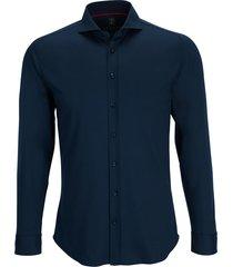 desoto heren overhemd marine blauw jersey cutaway slim fit
