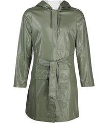 rains belted high-shine rain coat - green