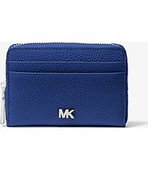 mk portafoglio piccolo in pelle martellata - zaffiro (blu) - michael kors