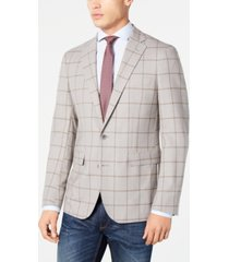 cole haan men's grand. os wearable technology slim-fit stretch light gray windowpane sport coat