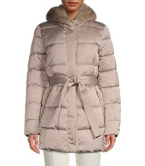 faux fur-trim belted puffer jacket