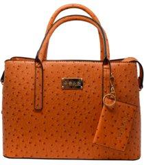 bebe aubrey ostrich satchel with card case