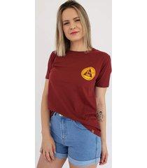 t-shirt aero jeans bordã´ - bordã´/multicolorido/vinho - feminino - algodã£o - dafiti