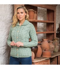 the corrib cable cardigan green l