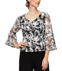 alex evenings printed bell-sleeve blouse