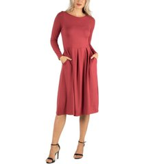 24seven comfort apparel women's midi length fit and flare pocket dress