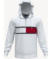 tommy hilfiger men's essential hilfiger hoodie bright white - xxxl
