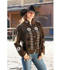 ladies fringe chocolate brown native american western style coat jacket