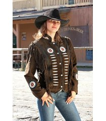 ladies fringe chocolate brown native american western style coat jacket