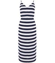 stripe tie back midi dress
