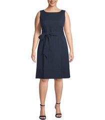 anne klein plus size seersucker belted dress