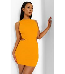 geribbelde gebreide jurk met uitsnijding detail, orange