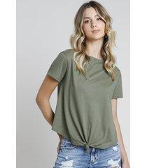 blusa feminina básica com nó manga curta decote redondo verde militar