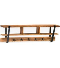 ryegate natural live edge solid wood with metal coat hooks with storage