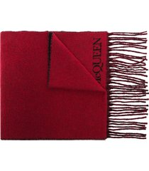 alexander mcqueen blown up intarsia-knit scarf - red