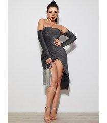 vestido de manga larga con hombros descubiertos y diseño sin espalda metalizado negro yoins