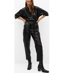 mango women's belt faux-leather jumpsuit