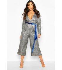 metallic wrap velvet belted culotte jumpsuit, silver