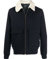 a.p.c. long-sleeve shearling jacket - blue