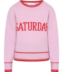 alberta ferretti pink sweater for girl with red writing