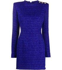 balmain bouclé tweed day dress - blue