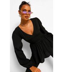 geweven peplum blouse met laag decolleté, black