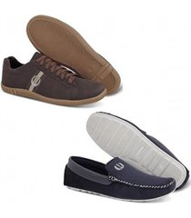 kit roed shoes sapatênis + mocassim masculino - masculino
