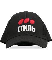 heron preston logo print baseball cap