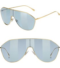 women's fendi 146mm stripe lens shield sunglasses - gold/ blue silver
