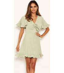 ax paris women's ruched front frill swing dress