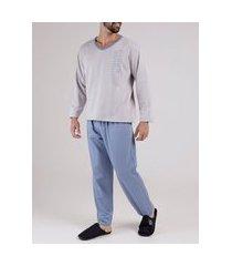pijama moletom masculino cinza/azul