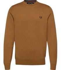 classic c/n jumper stickad tröja m. rund krage brun fred perry