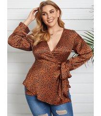yoins blusa de manga larga con cuello en v profundo con diseño de leopardo y corbata de talla grande