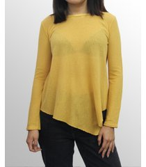 coin 1804 womens mesh asymmetric hem long sleeve top