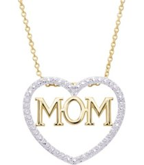 macy's diamond accent gold-plated mom heart pendant necklace