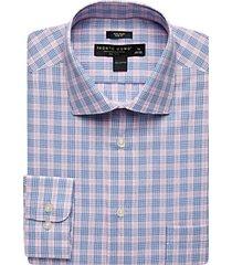 pronto uomo pink & blue plaid slim fit dress shirt