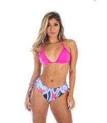 biquíni sunquini galvic  moda praia top liso rosa - kanui