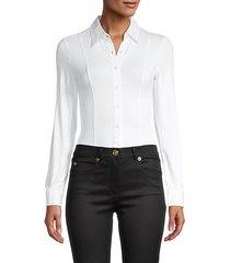 spread-collar long-sleeve bodysuit