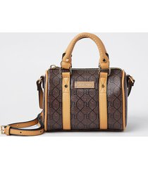 river island womens brown ri monogram mini bowler crossbody bag
