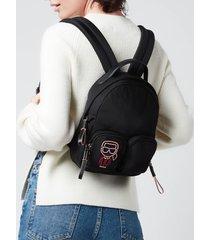 karl lagerfeld women's ikonik biarritz nylon small backpack - black