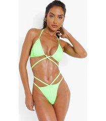 geribbeld bikini broekje met uitsnijding, green