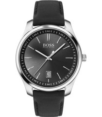 boss circuit leather strap watch, 42mm in black/silver at nordstrom