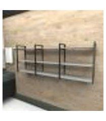 prateleira industrial banheiro aço cor preto 180x30x68cm (c)x(l)x(a) cor mdf cinza modelo ind35cb